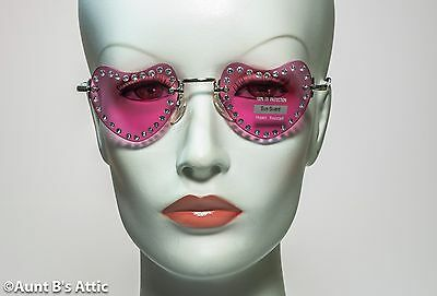 Sunglasses Heart Shaped Rimless Shaded Costume Glasses W/ Rhinestone Accent