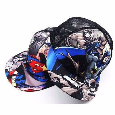 Kids Superman Batman Adjustable Snapback Cap Trucker Hat Boys Girls Toddler