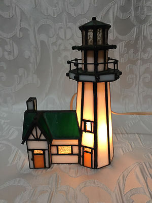 Vintage Lighted Leaded Stain Glass Lighthouse Green & White