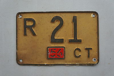 1956 Connecticut License Plate With Tab - Low # 21