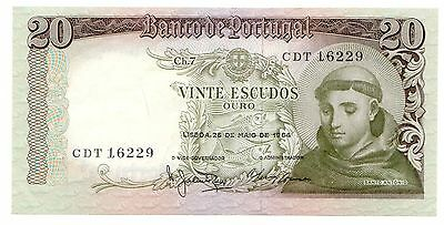 Portugal P#167b 1964 20 Escudos Small, World Bank Note [1024.048]