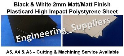 2mm Black and White Plasticard HIPS Sheet  A5, A4 & A3 Matt/Matt finish