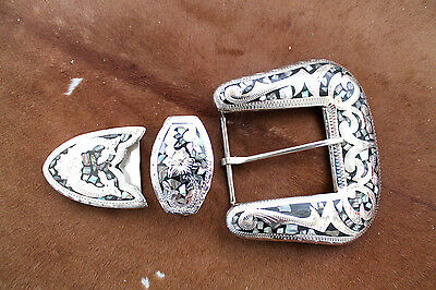 Western Silver Buckle Set Belt Cowboy Rodeo Abalone NEW Show Casual Dress