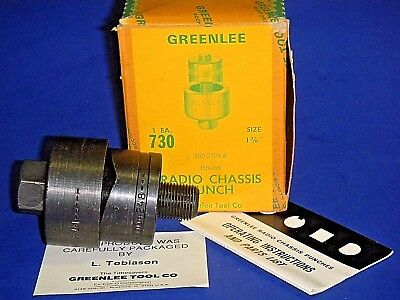 "GREENLEE 730 Round Radio Chassis Knockout Punch 1 7/8""  # 500 2424.8 -3 Pc NOS"