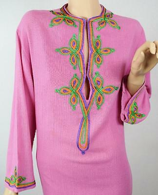 Rare Vtg 1970s Christian Dior Gauze Embroidered Caftan Dress CoverUp Boho Hippie