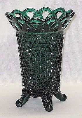 """Vintage 1950's IMPERIAL Emerald Green Diamond Point OPEN LACE Footed 5"""" Vase"""