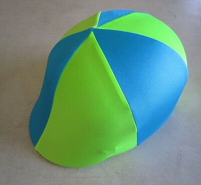 Horse Helmet Cover ALL AUSTRALIAN MADE Lime green & Sky blue/aqua