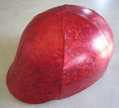 Horse Helmet Cover ALL AUSTRALIAN MADE Shiny Red design Any size you need