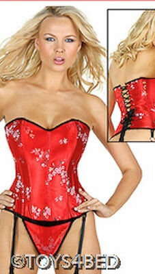 """New - RED CORSET WITH BLACK TRIM -  36"""" Australian Seller - CL050"""