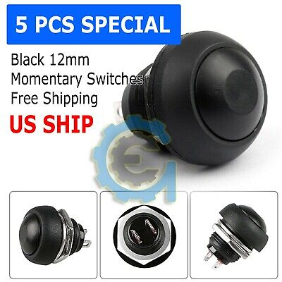 Black 5 Pcs M4 12mm Waterproof Momentary ON/OFF Push Button Round SPST Switch