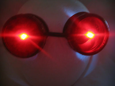 Pro Steampunk Safety Goggles SCI-FI Gamer Cosplay Cyber Goth Costume Red LED