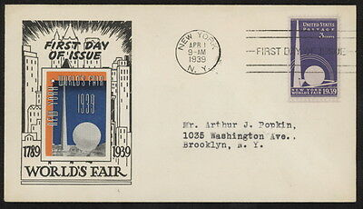 US 853 on 1939 New York World's Fair FDC w/NY pmk & Mellone's 853-3 cachet
