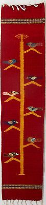 Zapotec wool hand woven 8½ x 40 inch Red TREE OF LIFE wall or runner retail $98