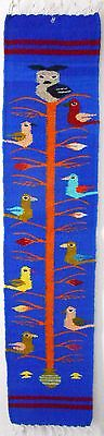 Zapotec wool hand woven 8½ x 40 inch Blue TREE OF LIFE wall or runner retail $98