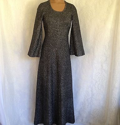 Vtg 70's Mod Solid Black Metallic Long Sleeve Cocktail Party Maxi Dress Size S