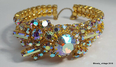 Signed TRIAD (Canada) Spectacular AB Rhinestone Bracelet in Amazing Condition!