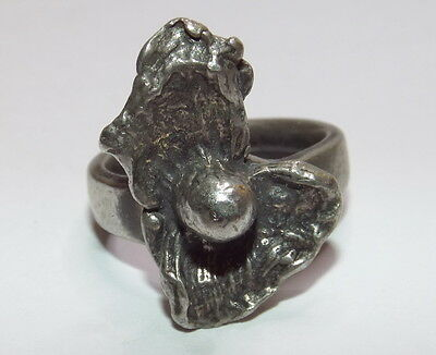 Modernist Ring Signed 'Norway, Handmade Pewter' - Size 6.5 (adjustable)