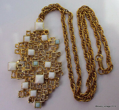 Vintage Modernist Style Goldtone Panetta Necklace with White & Light Blue Stones