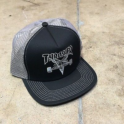 Thrasher Skate Goat Embroidered Black/Grey Trucker Hat Skate Skater Santa Cruz