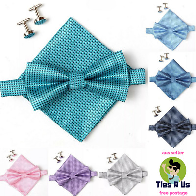 Men's Tie Set with Bow Tie, Pocket Square and Cufflinks - Wedding, Groom, Silk