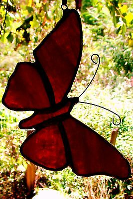 MULBERRY STAINED GLASS BUTTERFLY Silver Suncatcher VALENTINE or BIRTHDAY GIFTS