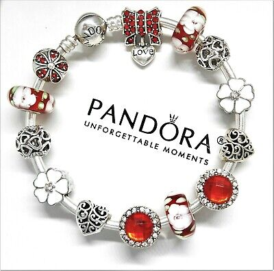 Authentic Pandora Silver Bangle Bracelet with European charms Red Love Heart