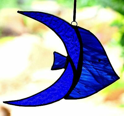 BLUE ANGEL FISH Ocean Nautical STAINED GLASS CRAFTED SUNCATCHER Ready To Hang