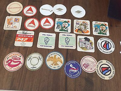 Airline Themed Cardboard Coasters X 21 - Qantas, Ansett, Taa  In Vg To Ex. Cond