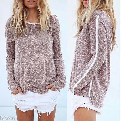 Fashion Women Casual Blouse Long Sleeve Round Neck Cotton Loose Shirt Summer Top
