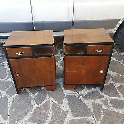 Original Italian Art Deco Bedside Tables From 1930-40 For Restoration