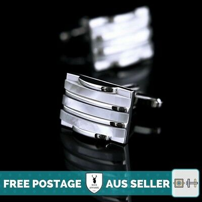 Silver and Mother of Pearl Cufflinks - Premium Quality, Wedding, Groom, Formal