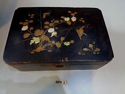 Japanese Black Lacquered Sewing Jewellery Box Gold Bird Design With Flowers