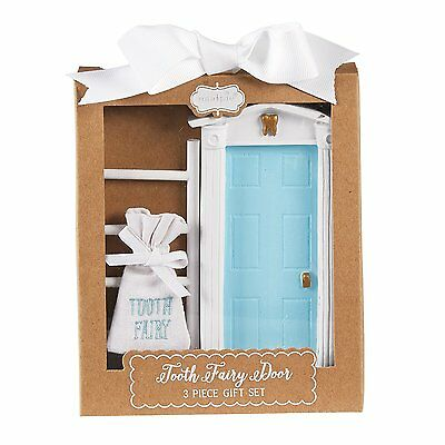 Mud Pie Tooth Fairy Door Gift Set, Blue/White
