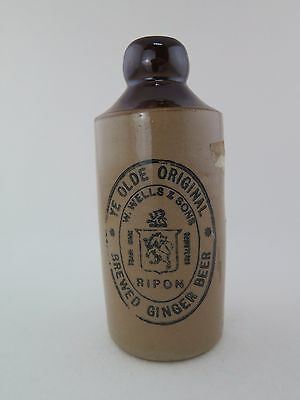 Vintage Ye Old Original  Wells & Sons Ginger Beer Stoneware Pearsons Chesterfild