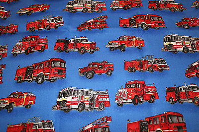 PUL Fire Engine 100% Cotton fabric nappy cut for nappies & wetbags 45x109cm