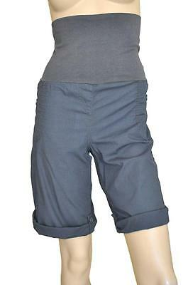 NINE & MINE SZ 10 MATERNITY WOMENS Blue Cargo Roll Cuff Lightweight Long Shorts