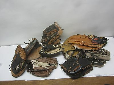 Lot Little League Baseball Gloves Very used,  Small Sizes
