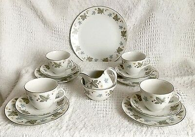 Ridgway Vinewood White Mist - 4 Place Tea Set With Jug, Bowl And Sandwich Plate