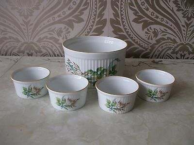 Vintage Retro Royal Worcester for M & S Set of Souffle Dish & 4 Ramekin dishes