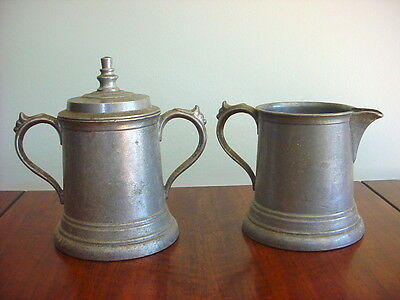 Nice Vintage DURATALE By LEONARD Cream & Sugar Bowl With Lid PEWTER