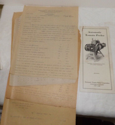 Automatic Tomato Peeler Brochure / 1920 Test Results from MIT Harvard University