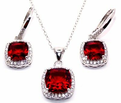 Sterling Silver Blood Ruby And Diamond 8.46ct Cluster Necklace Set (925)