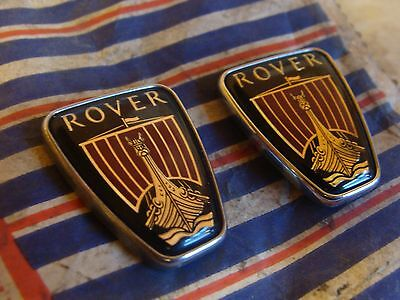 PAIR OF SMALL ROVER BADGE EMBLEMS  35mm x 28mm PLASTIC CHROME 25 45 200 400 600