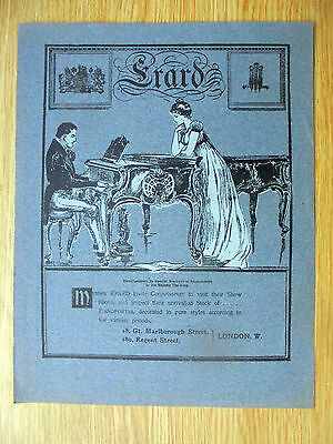 1901 genuine advert for the erard pianofortes,card like paper,11x8.5 inches