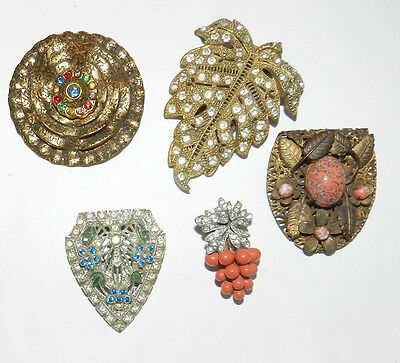 Antique Shoe Buckles/ Clips -Misc Lot of Singles - Rhinestones - Colored Stones