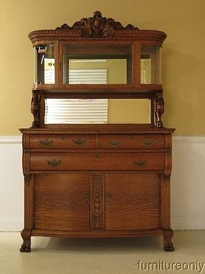 F28378E: Antique Victorian Oak Sideboard w. Carved Griffins & Curio Top