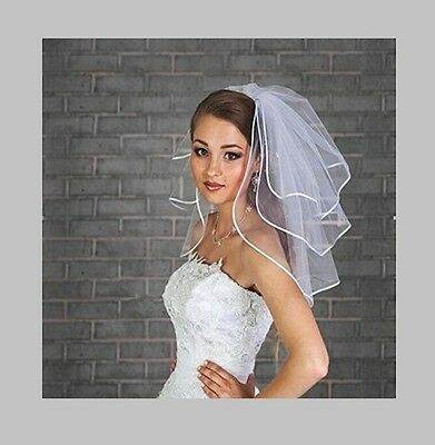 Fair Lady Short 3 Layers With Ribbon Edge And Free Comb WHITE Bridal Veils