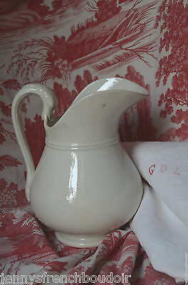 Elegant antique French white ironstone water pitcher or jug, Sarreguemines
