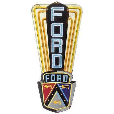"22"" Ford Vertical Die Cut Embossed Metal Tin Garage or Workshop Sign- Man Cave"
