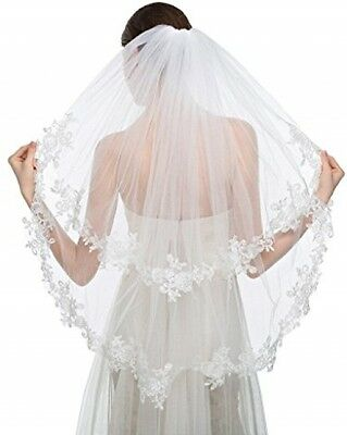 Edith Qi Elegant Wedding Veil 2T Two-tier Elbow Veils Lace Applique Edge With